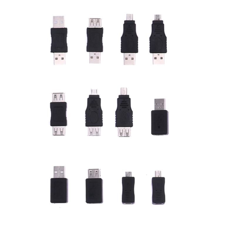 12pcs Adapters Kit 12 in 1 OTG USB2.0 Mix Set Adapters Kit OTG F/M mini Adapter Converter USB Male to Female Micro USB for PC 12pcs usb3 0 adapter couplers toolkit type a to b or micro or mini and male to female adapters usb male to female right degree