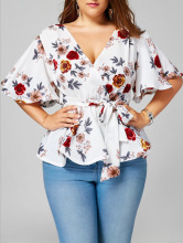 Floral Plus Size Belted Surplice Peplum Blouse Women Tops V-neck Cusual Clothes 3XL 4XL 5XL