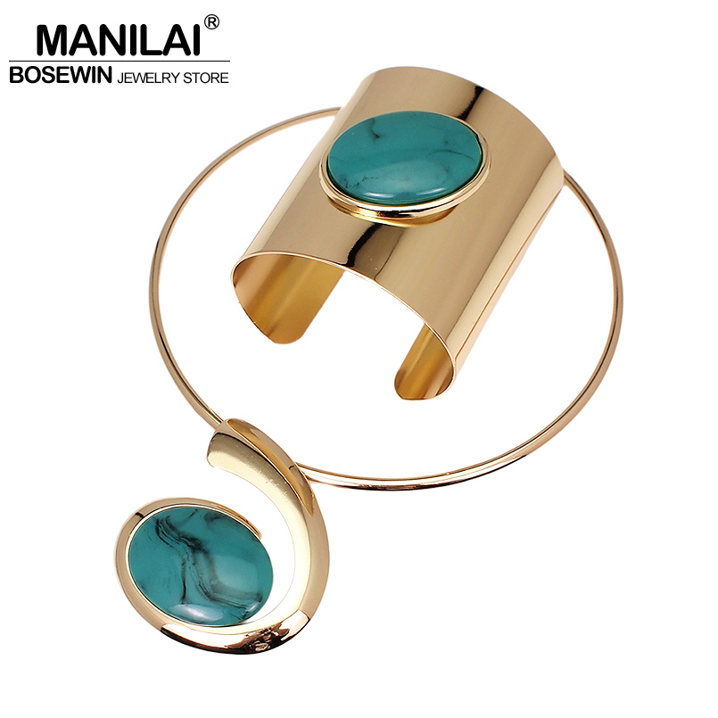 MANILAI Big Oval Resin Set Jewelry Metal Torques Cuff Bracelet Bangles Necklace Women Alloy Statement Necklaces Party Sets