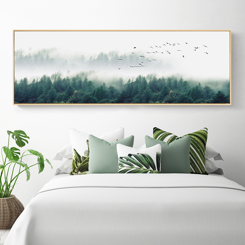 SURE LIFE Nordic Fog Birds Foresters Landscape Canvas Paintings Wall Art Pictures Posters Prints Living Room Bedroom Home Decor