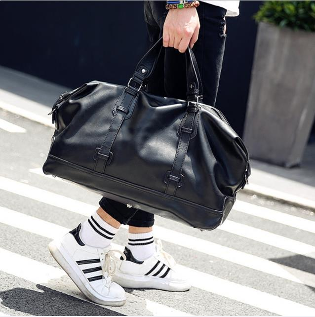 Men's Tote Waterproof Travel Bag Solid PU Leather Large-Capacity Luggage Handbag Weekend Duffle Bag Famous Bag