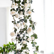 180cm Artificial Silk Rose Vines Decorative Fake Flower for Home Wall Garden Wedding Party Decor Wreath Hanging Flowers