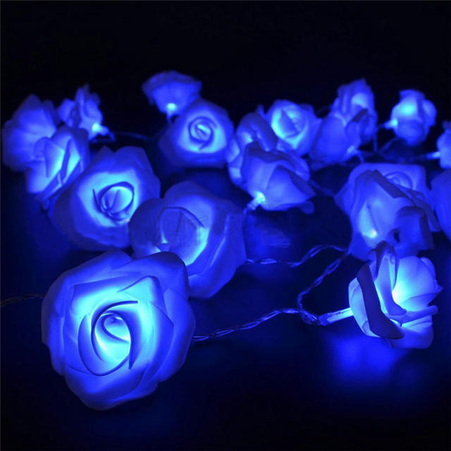 1m 10 led rose flower floral romantic fairy wire string lights valentines day garden party christmas - Valentine String Lights