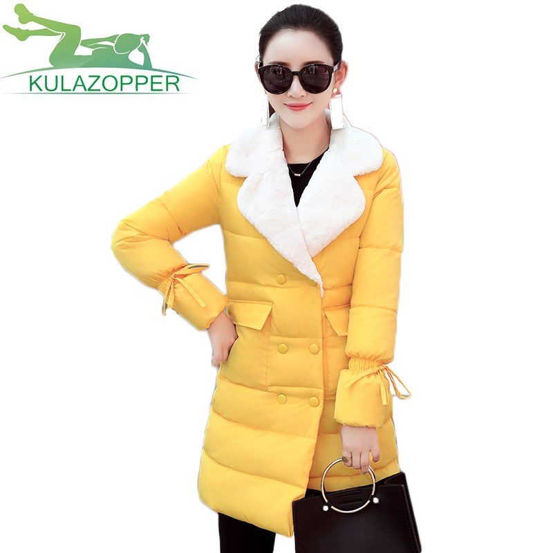 KULAZOPPER New Winter cotton padded Coat Women parka long section Slim Double breasted fur collar feathers cotton jacket ky014 europe 2015 new women winter coat slim turn down collar long double breasted leather match cotton jacket coat w20