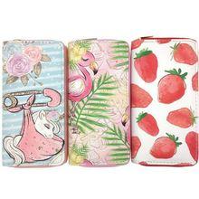 KANDRA Pastel Leather Clutch Women Wallet Unicorn Strawberry Print Cute Credit Card Holder Purse Travel Organizer Zipper Wallets