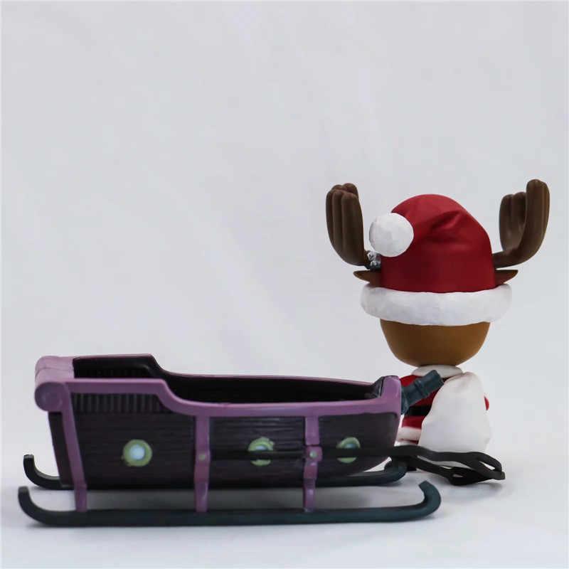 Nova Natal One Piece Chopper Ação Figura Brinquedos Anime Kawaii Natal Trenó Chopper Figuras Dolls Brinquedos Presente 10 cm