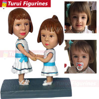 personalized sculpture copied from photograph two girls figurines custom bobblehead dolls personalized figurines home decoration