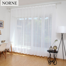 NORNE Cheap White Semi Sheer Window Elegance Curtains Drape Panels Voile Curtain Treatment for Bedroom Living Room Home Textile norne embroidered semi white voiles peacock feathers tulle sheer curtains for living room kitchen drape treatment for bedroom