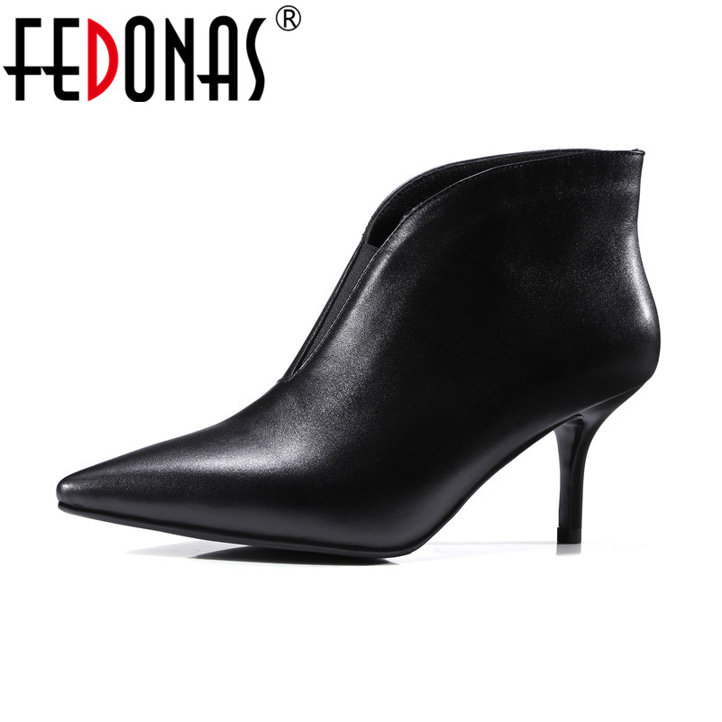 FEDONAS Retro Brand Quality Ankle Boots for Women Sexy Slip on Spring Autumn Short Shoes Genuine Leather Boots Female Boots