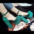 Moda Sexy de Cuero de Gamuza Bombas de Las Mujeres Nuevos Gruesos de Tacón Alto Del Partido Muestran Zapatos de Mujer Correa de Gladiador Zapatos de Plataforma Botas de Las Mujeres