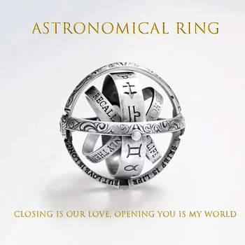 Gold Astronomical ball mood rings Creative Complex Rotating Cosmic letter Finger ring