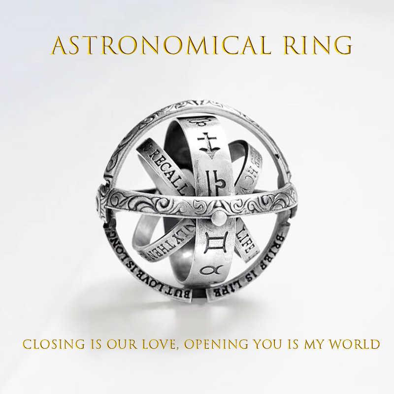 GOLD ดาราศาสตร์แหวน Ball แหวนอารมณ์ Creative Complex หมุน COSMIC Letter นิ้วมือแหวนแฟชั่นเครื่องประดับของขวัญ