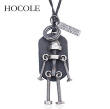 HOCOLE 2018 New Fashion Jewelry Mens Necklace Punk Design Adjustable Leather Chain Robot Pendant Retro Women