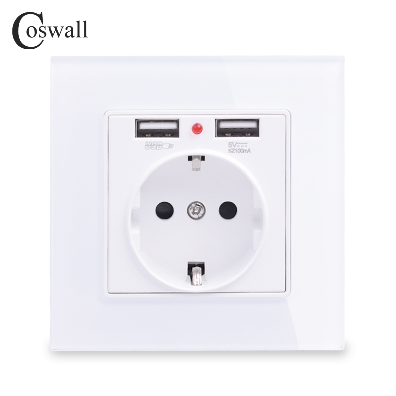 Coswall Glass Panel Dual USB Charge Port 2.1A 16A Russia Spain EU Standard Wall Socket Grounded White Black Gold Grey Gray