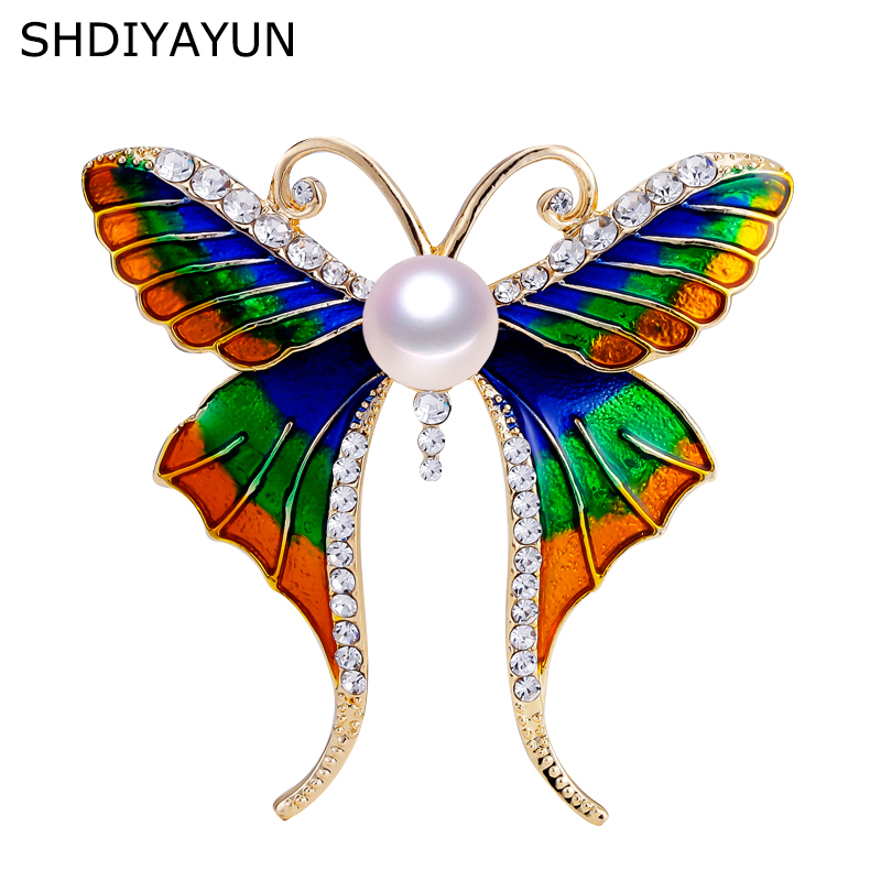 SHDIYAYUN 2019 New Pearl Brooch Enamel Butterfly Brooch For Women Gold Brooch Pins Natural Freshwater Pearl Jewelry Dropshipping