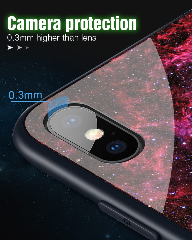 TOMKAS Luminous Starry Luxury Case for iPhone X Xs Max Xr Glass Phone Cover Christmas Silicone Case for iPhone 7 8 6 S 6s Plus (33)
