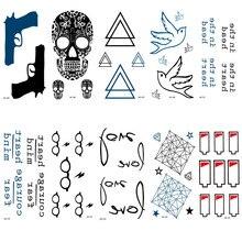 HC101-125 Waterproof Temporary Tattoo Stickers Personalized Pistol Heart Mind Fast Fake Tattoo Hip Hop Body Art Flash Tattoo