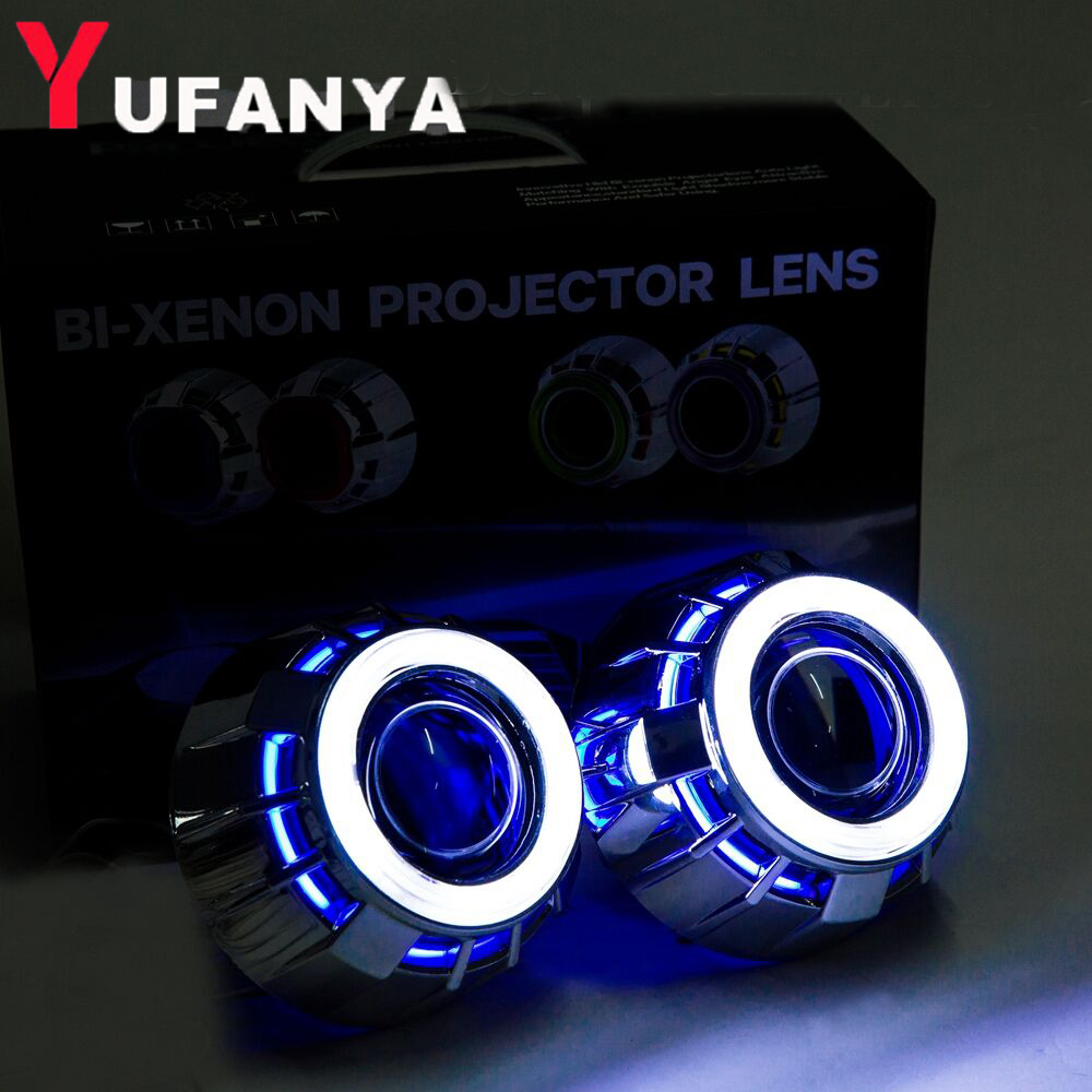 цены 2pcs 2.8 inch hid bixenon projector lens with cob angel eyes shrouds hid xenon bulb and CCFL back angel eyes auto lamp lens