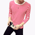 2016 New Fashion Men's T Shirt Autumn Striped Long Sleeve T Shirt Mens Clothing Trend Casual Slim Fit O Neck Top Tees Shirts 5XL