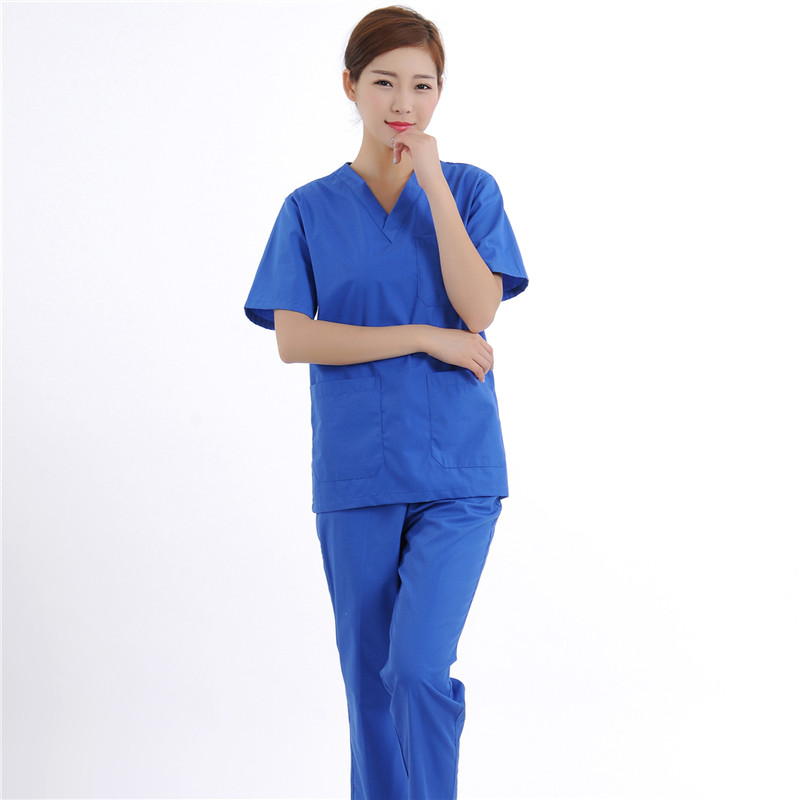 New Women Medical Scrub Sets Nurse Hospital Uniforms Dental Clinic Beauty Salon Short Sleeve Medical Workwear Slim Fit  2094