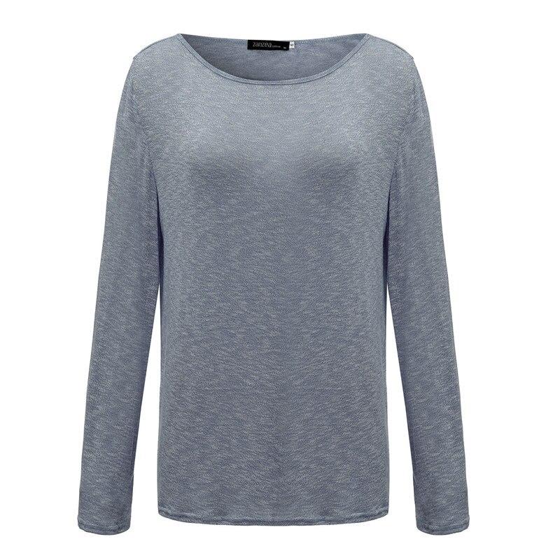 e98c58cfa6c US $5.88 41% OFF|ZANZEA Vrouwen T shirt 2019 Lente Dames Solid Casual Dunne  Vrouwelijke Top O hals Lange Mouw T shirt Losse Tops Tee Blusas plus Size  ...