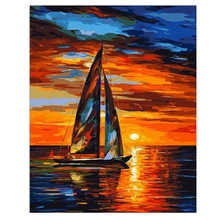 40x50cm Diy Oil Paint By Numbers Kit Boat,Sunset Sea,Painting