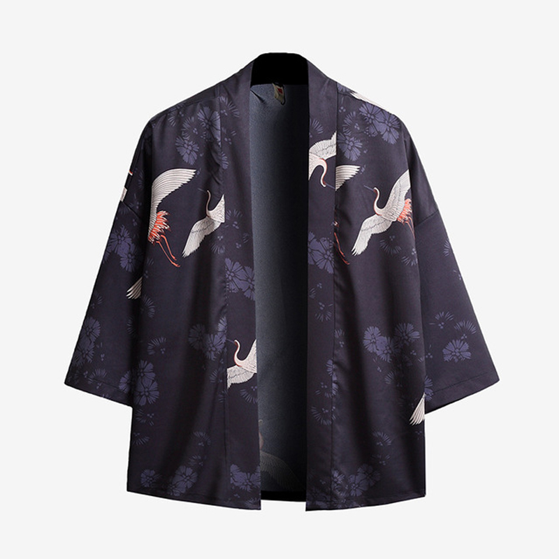 Plus Size 5XL Literary Japanese Kimono Yukata Man Japanese Short Robe Loose Kimomo Chinese Style Cardigan Kimono Haori