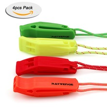 4 pcs pack Outdoor Survival Double Frequency Bright Orange Safety Whistle Emergency
