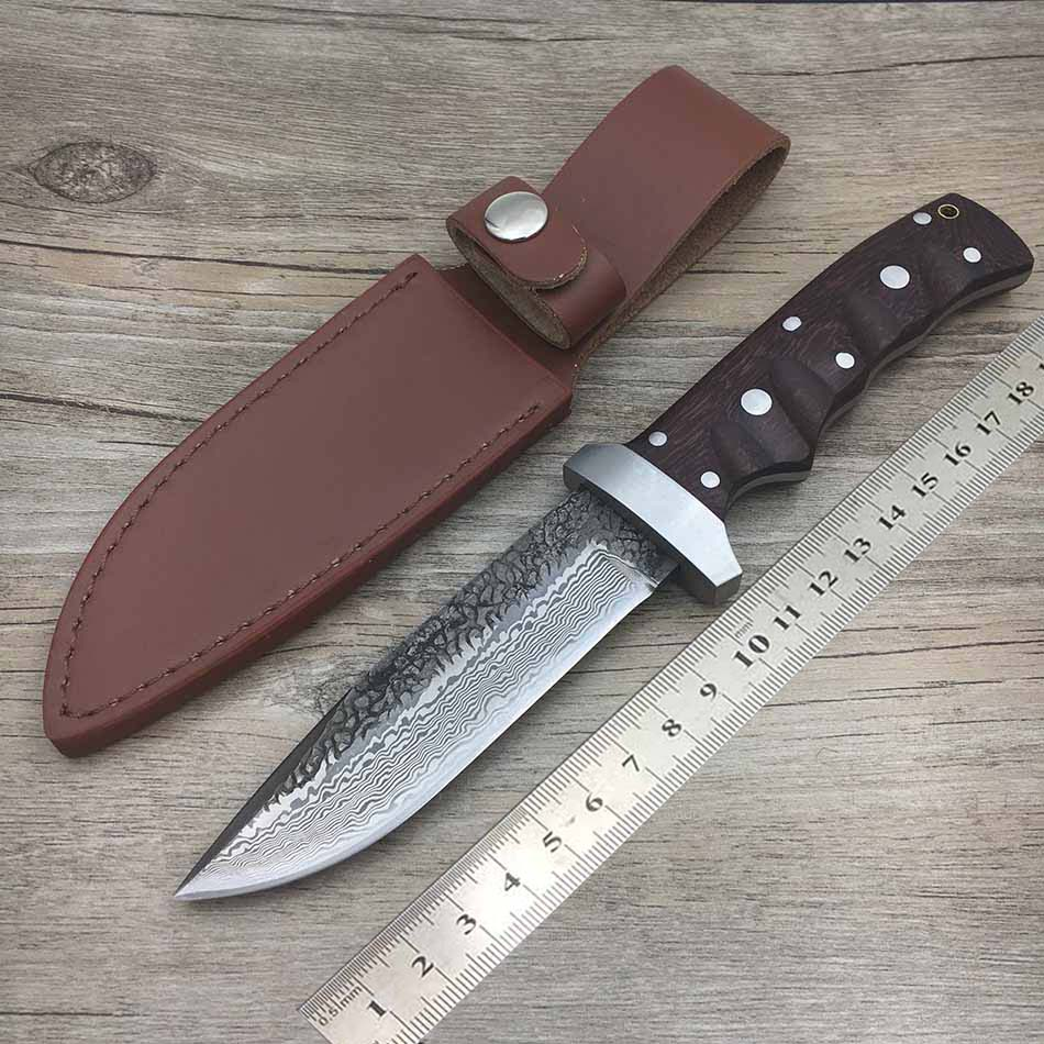 Swayboo knife actical straight outdoor fixed self-defense knife blade  manual Damascus  forged 62HRC hunting hardness steel