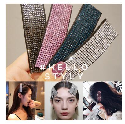 Super Shiny Rhinestone Girl Hairpin Chic Fashion Bangs Hair Clips Stripe Wide Hair Clip Accessories