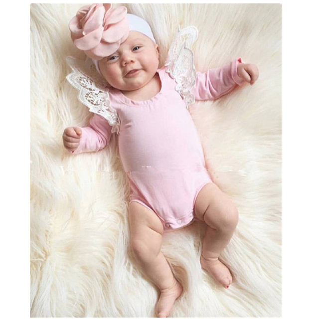 b1227bda752 Newborn baby lace romper long sleeve solid colour pink black white striped  unisex baby clothes baby clothing girl jumpsuit