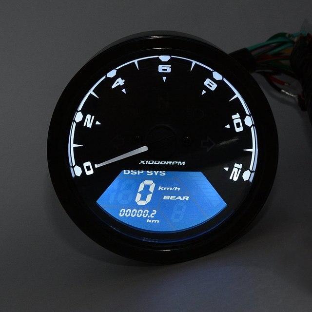 Motorcycle Tachometer Gauge Speed Mileage with LED Backlight Signal Light 12V CS-363 Digital Motor Tachometer Display Speed