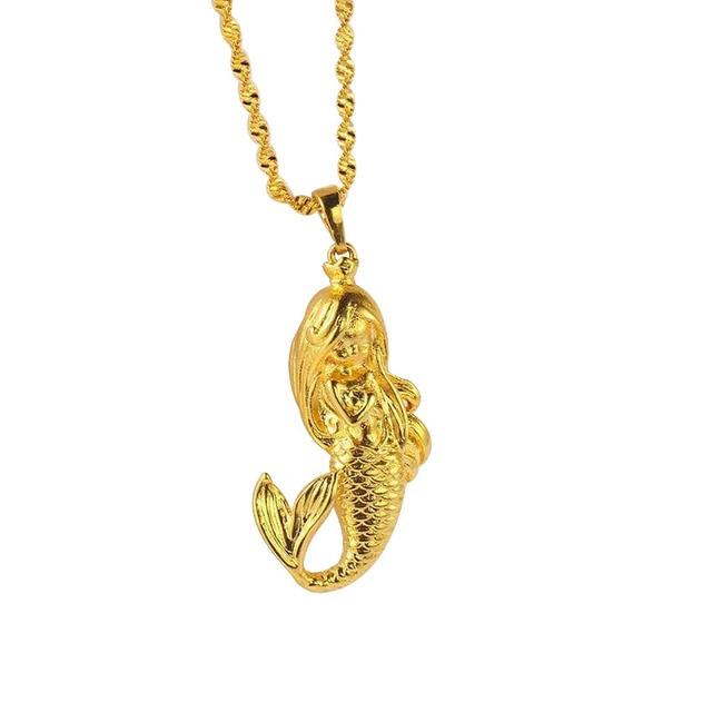Mxgxfam mermaid pendant necklace for women fashion pure gold color mxgxfam mermaid pendant necklace for women fashion pure gold color 45cm wave chain aloadofball Gallery