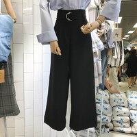 2017 Autumn Black Trousers Women Slim High Waist All Match Pants Lady Belt Waist Wide Leg
