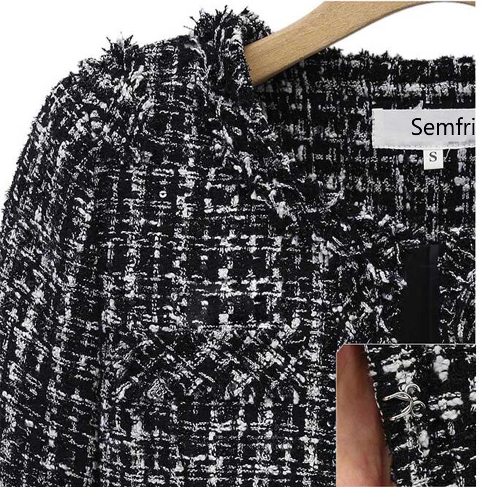 Semfri Plaid Winter Autumn Jacket Black And White Female Base Coat Women Suits Elegant Top 2019 Slim Streetwear Single Breasted