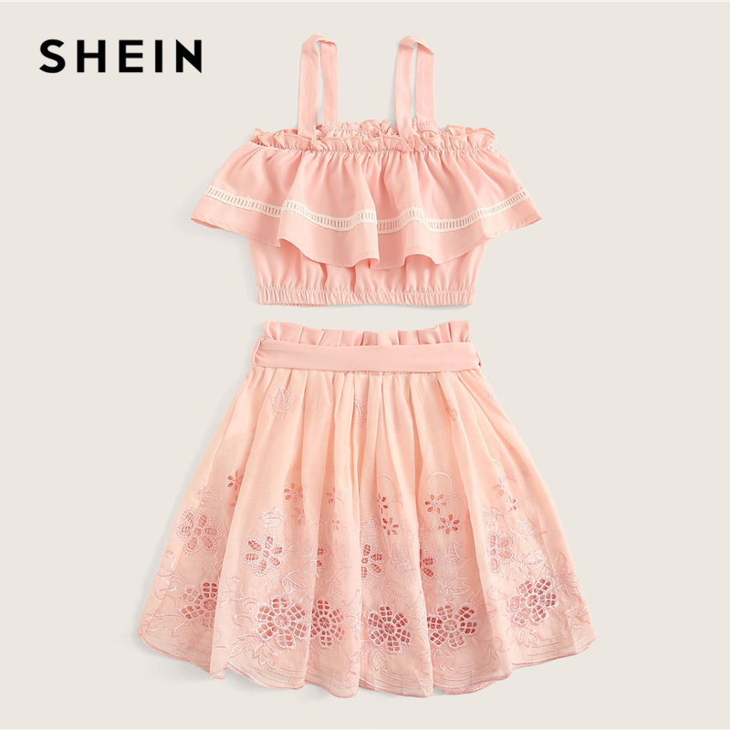 Image 2 - SHEIN Kiddie Pink Tank Top And Belted Waist Embroidery Eyelet Skirt Cute Two Piece Set 2019 Summer Ruffle Boho Children Outfits-in Clothing Sets from Mother & Kids