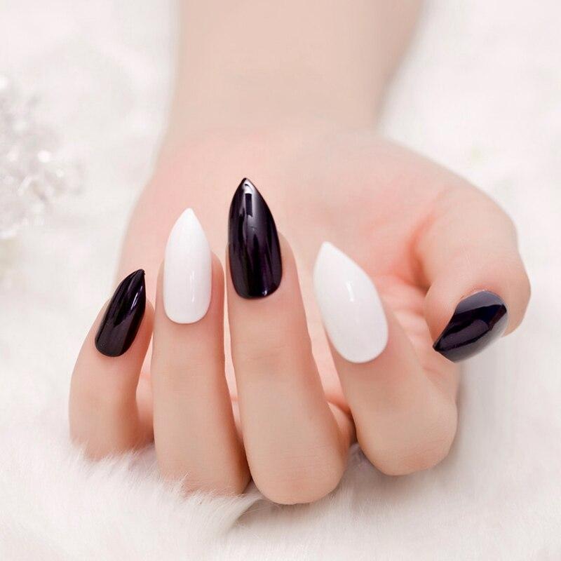 Point White Press On Nail Black Shiny Grace Style Fake Nails ...