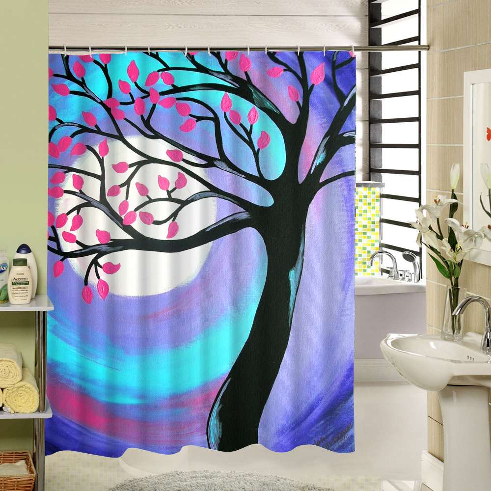 Water Resistant Fabric Bath Curtain Pink Flowers Shower Curtain ...