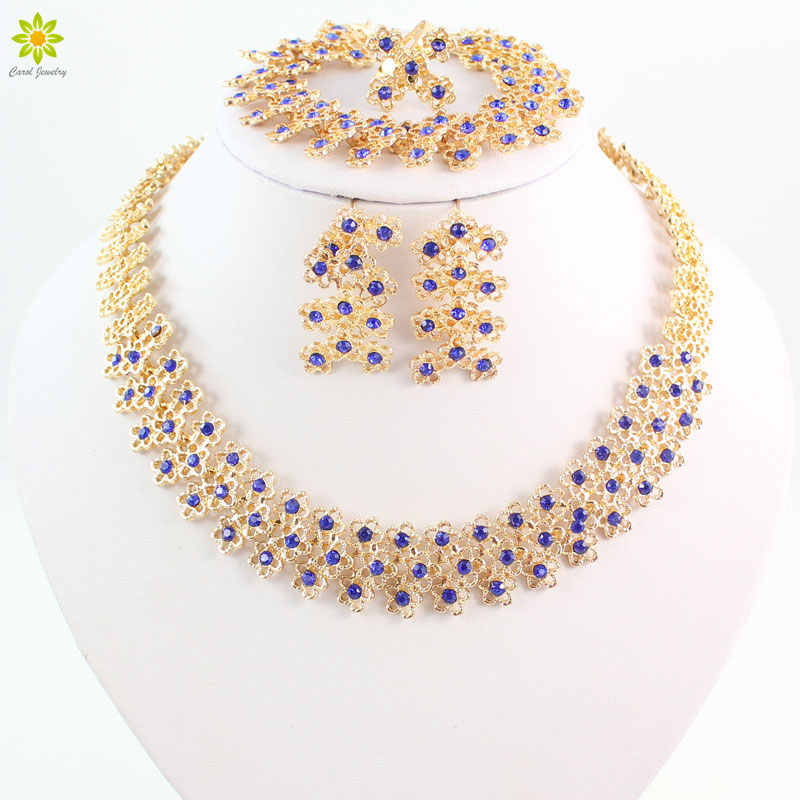 Bridal Engagement Ring Blue Crystal Necklace Pendant Earrings Bracelet Gold Color Jewelry Sets For Women Bijouterie Accessories