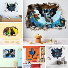 Купить с кэшбэком Batman Super Hero Broken Window Lego Wall Stickers For Nursery Kids Room Decoration Movie 3D Mural PVC Cartoon Decal Accessories