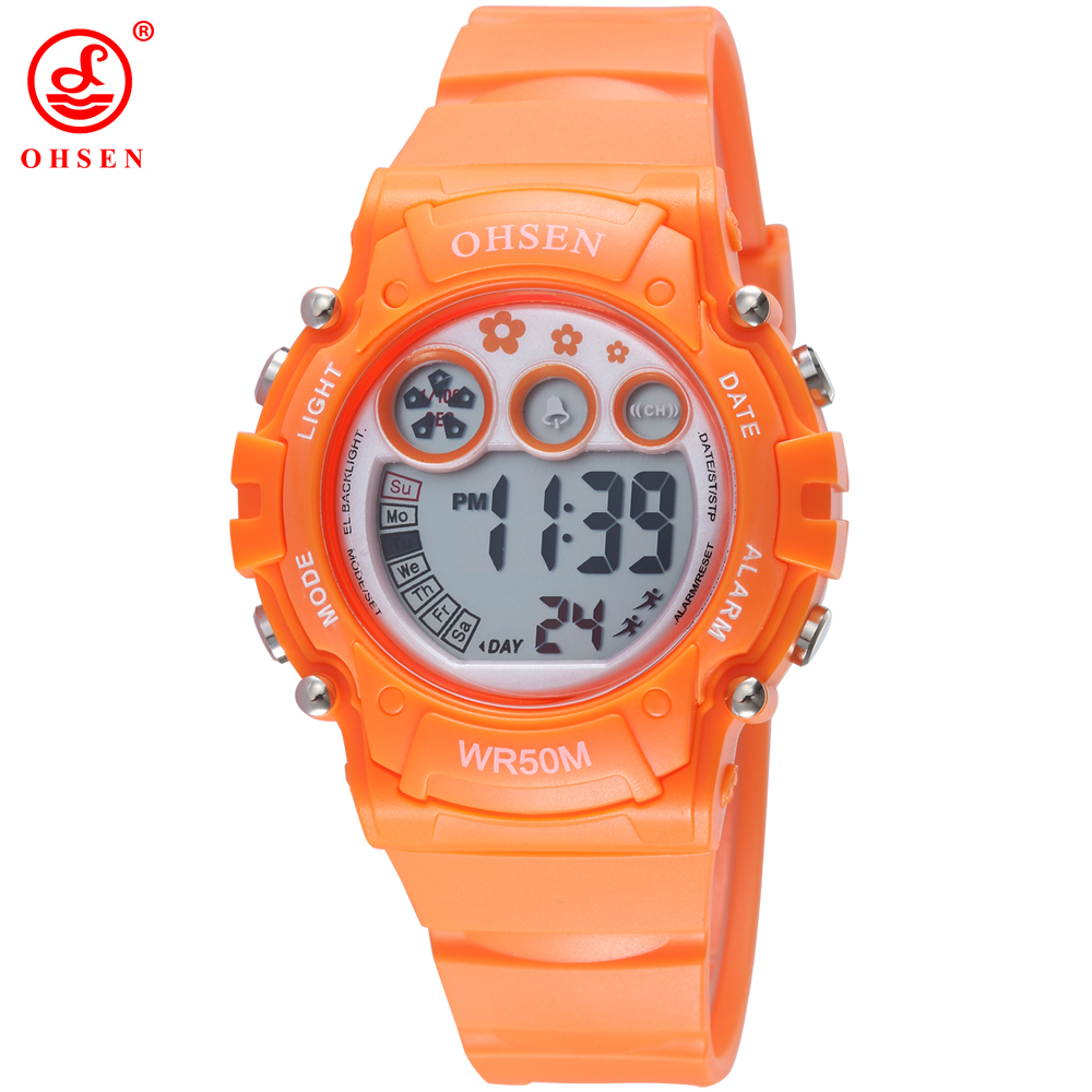 Popular OHSEN Boys Girls Children Electronic Digital Watch Sport Watch Waterproof Rubber Band Army Kids Wristwatch Student Clock