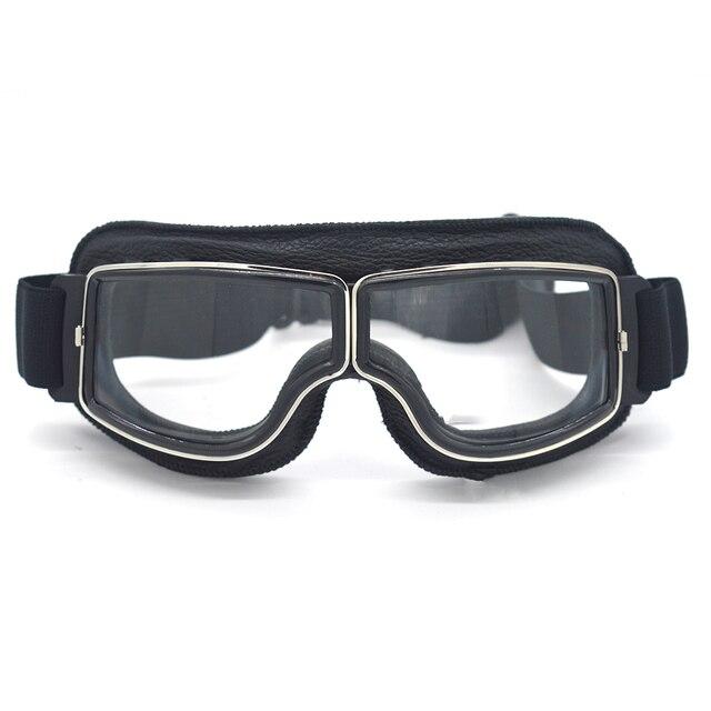 Alta Qualidade do Couro Genuíno Moto Motocicleta Retro Óculos Lunette Óculos  de Motocross Motociclista para Cafe d25bd5e574