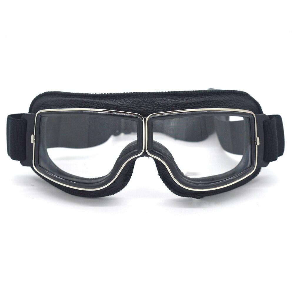 Alta qualidade de couro genuíno moto retro óculos da motocicleta lunette motocross biker óculos para cafe racer transparente