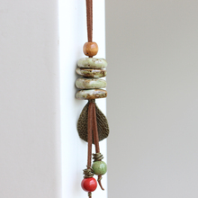 Original Hand Knead Ceramic Necklace Creative Autumn Long  Female Sweater Chain Necklace Jewelry Manufacturer color beads
