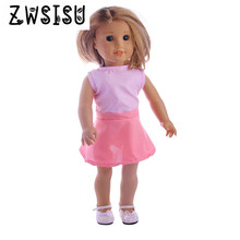 The 2018 hot sell Baby Doll cloth Accessories Derss Fit 18 Inches American  Doll Lovely pink dress for your children b149