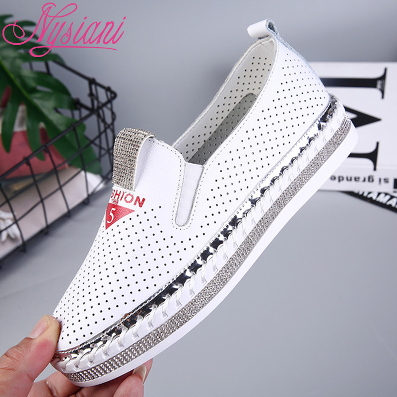 2019 Leather Women Flat Shoes Casual Loafers Hollow out Summer Round Toe Crystal Split Leather Women Shoes Platform Nysiani2019 Leather Women Flat Shoes Casual Loafers Hollow out Summer Round Toe Crystal Split Leather Women Shoes Platform Nysiani