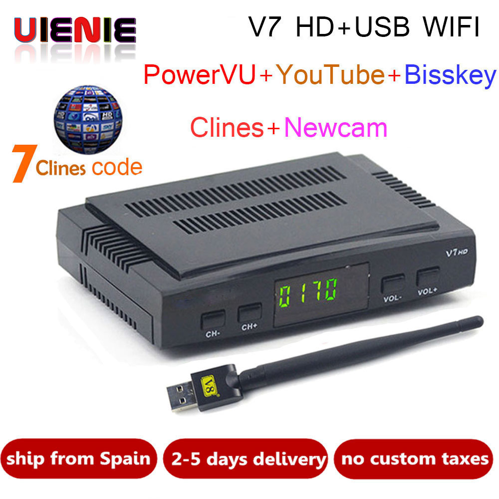 Freesat V7 CCcam Satellite Receiver +1 Year Europe Spain CCcam 7 Clines Server+1 USB WIF Device DVB-S2 Satellite HD Receiver
