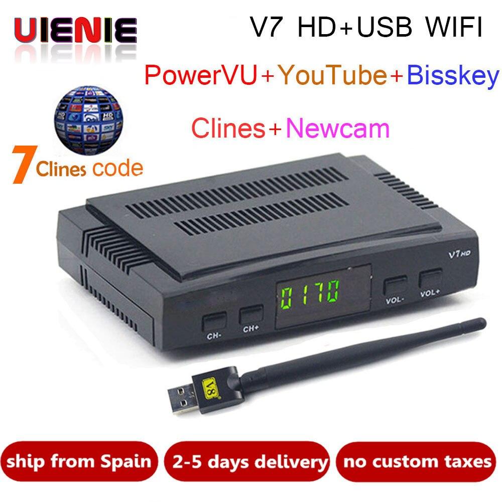 Freesat V7 CCcam receptor de satélite + 1 año Europa España CCcam 7 Clines servidor 1 WIF USB dispositivo DVB-S2 receptor Satélite HD