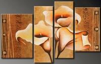 בעבודת יד פרח אמנות קיר ציור שמן על בד 4 piece סגול תמונה גדולה לעיצוב בית מתנה ייחודית עם מסגרת מוכנה לתלות