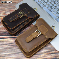 Crazy Horse Genuine Leather Waist Bag Men Vintage Cowhide Small Belt Waist Pack Cigarette Case Pouch Cellphone Pocket Male Bags